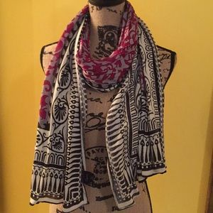 Pink, gray, black and white scarf NWOT